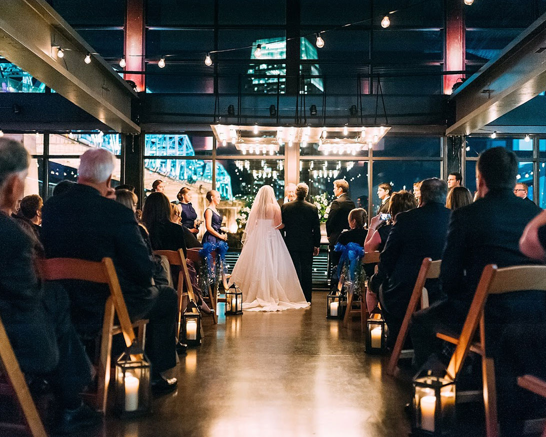 Wedding Ceremony at The Bridge Building Event Spaces