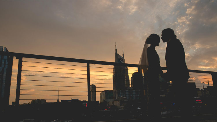 Nashville Skyline Sunset at Alina and Geoff's Wedding at The Bridge Building Event Spaces